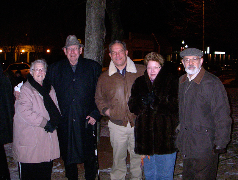 Libby & Udy Wolpert with Jeffrey Mushnick from Ael Chunon with Clare and Moe Yaffe of Beth Shalom enjoying the Chanukah candle lighting ceremony held 12/12/09 at the Milford Town Common.